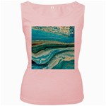Mint,gold,marble,nature,stone,pattern,modern,chic,elegant,beautiful,trendy Women s Pink Tank Top Front