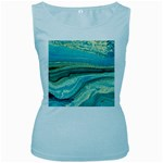 Mint,gold,marble,nature,stone,pattern,modern,chic,elegant,beautiful,trendy Women s Baby Blue Tank Top Front