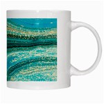 Mint,gold,marble,nature,stone,pattern,modern,chic,elegant,beautiful,trendy White Mugs Right