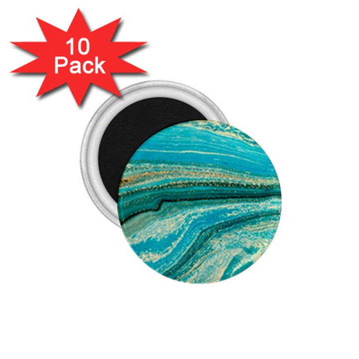 Mint,gold,marble,nature,stone,pattern,modern,chic,elegant,beautiful,trendy 1.75  Magnets (10 pack)