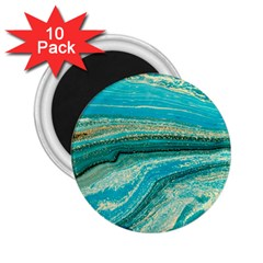 Mint,gold,marble,nature,stone,pattern,modern,chic,elegant,beautiful,trendy 2 25  Magnets (10 Pack)