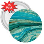 Mint,gold,marble,nature,stone,pattern,modern,chic,elegant,beautiful,trendy 3  Buttons (10 pack)  Front
