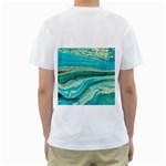 Mint,gold,marble,nature,stone,pattern,modern,chic,elegant,beautiful,trendy Men s T-Shirt (White) (Two Sided) Back