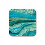 Mint,gold,marble,nature,stone,pattern,modern,chic,elegant,beautiful,trendy Rubber Square Coaster (4 pack)  Front