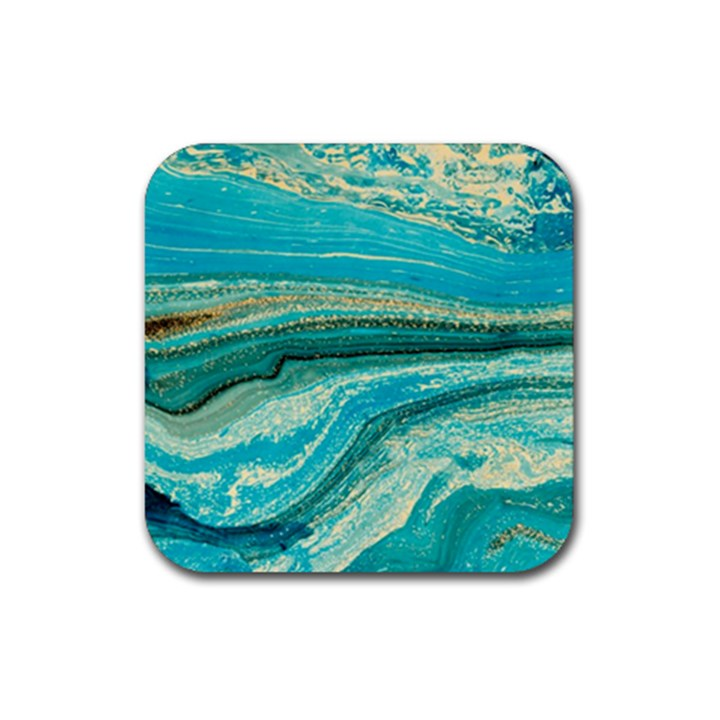 Mint,gold,marble,nature,stone,pattern,modern,chic,elegant,beautiful,trendy Rubber Square Coaster (4 pack)