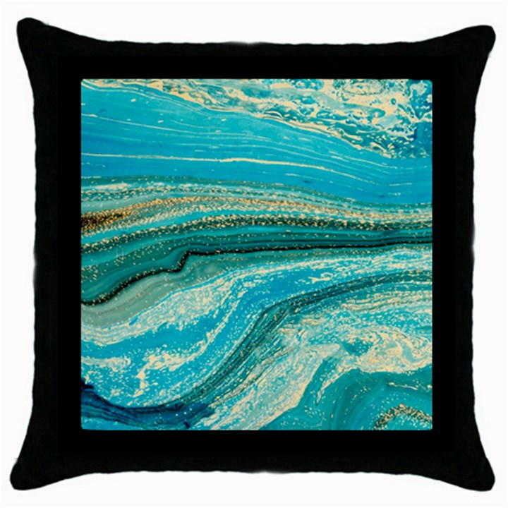 Mint,gold,marble,nature,stone,pattern,modern,chic,elegant,beautiful,trendy Throw Pillow Case (Black)