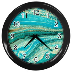 Mint,gold,marble,nature,stone,pattern,modern,chic,elegant,beautiful,trendy Wall Clocks (black)