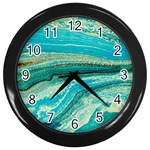 Mint,gold,marble,nature,stone,pattern,modern,chic,elegant,beautiful,trendy Wall Clocks (Black) Front