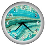 Mint,gold,marble,nature,stone,pattern,modern,chic,elegant,beautiful,trendy Wall Clocks (Silver)  Front