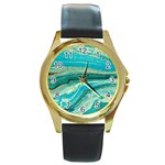 Mint,gold,marble,nature,stone,pattern,modern,chic,elegant,beautiful,trendy Round Gold Metal Watch Front