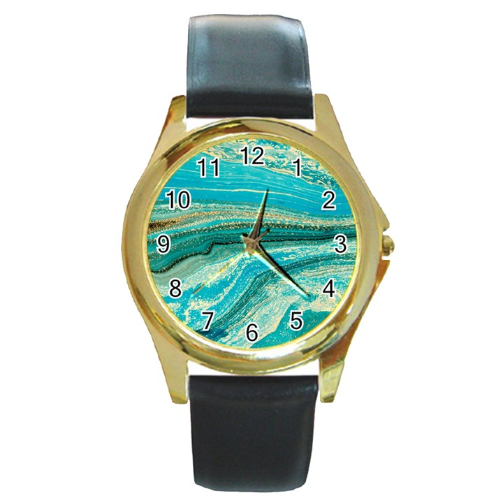 Mint,gold,marble,nature,stone,pattern,modern,chic,elegant,beautiful,trendy Round Gold Metal Watch