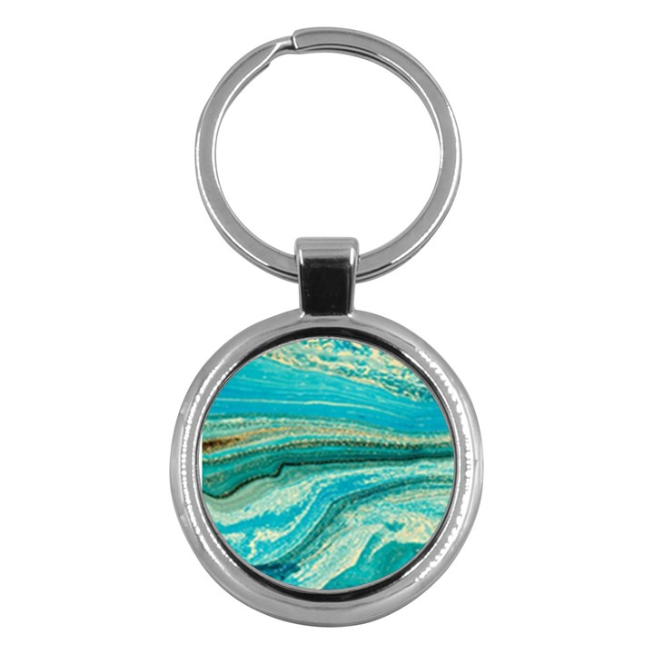 Mint,gold,marble,nature,stone,pattern,modern,chic,elegant,beautiful,trendy Key Chains (Round)