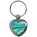 Mint,gold,marble,nature,stone,pattern,modern,chic,elegant,beautiful,trendy Key Chains (Heart)  Front