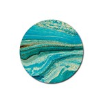 Mint,gold,marble,nature,stone,pattern,modern,chic,elegant,beautiful,trendy Rubber Round Coaster (4 pack)  Front