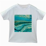 Mint,gold,marble,nature,stone,pattern,modern,chic,elegant,beautiful,trendy Kids White T-Shirts Front