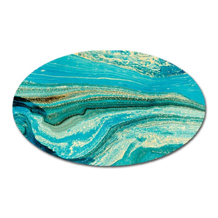 Mint,gold,marble,nature,stone,pattern,modern,chic,elegant,beautiful,trendy Oval Magnet