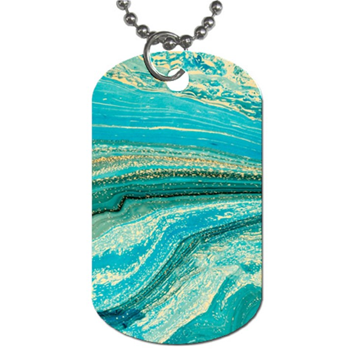 Mint,gold,marble,nature,stone,pattern,modern,chic,elegant,beautiful,trendy Dog Tag (One Side)