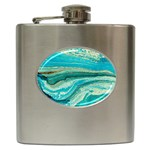 Mint,gold,marble,nature,stone,pattern,modern,chic,elegant,beautiful,trendy Hip Flask (6 oz) Front