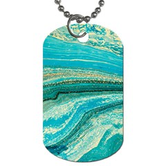 Mint,gold,marble,nature,stone,pattern,modern,chic,elegant,beautiful,trendy Dog Tag (two Sides)