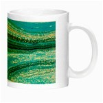 Mint,gold,marble,nature,stone,pattern,modern,chic,elegant,beautiful,trendy Night Luminous Mugs Right