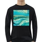 Mint,gold,marble,nature,stone,pattern,modern,chic,elegant,beautiful,trendy Long Sleeve Dark T-Shirts Front