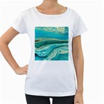 Mint,gold,marble,nature,stone,pattern,modern,chic,elegant,beautiful,trendy Women s Loose-Fit T-Shirt (White) Front