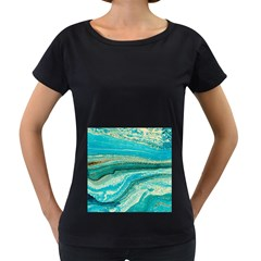 Mint,gold,marble,nature,stone,pattern,modern,chic,elegant,beautiful,trendy Women s Loose Fit T Shirt (black)