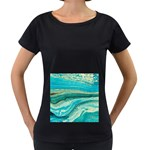 Mint,gold,marble,nature,stone,pattern,modern,chic,elegant,beautiful,trendy Women s Loose-Fit T-Shirt (Black) Front