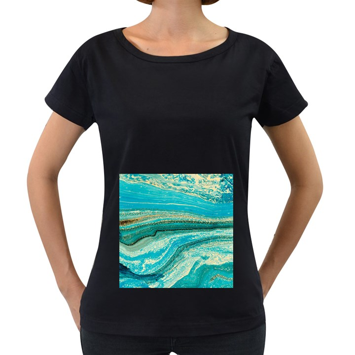 Mint,gold,marble,nature,stone,pattern,modern,chic,elegant,beautiful,trendy Women s Loose-Fit T-Shirt (Black)