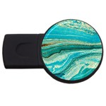 Mint,gold,marble,nature,stone,pattern,modern,chic,elegant,beautiful,trendy USB Flash Drive Round (4 GB) Front