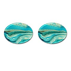 Mint,gold,marble,nature,stone,pattern,modern,chic,elegant,beautiful,trendy Cufflinks (oval)