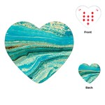 Mint,gold,marble,nature,stone,pattern,modern,chic,elegant,beautiful,trendy Playing Cards (Heart)  Front