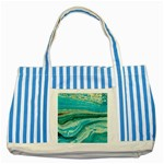 Mint,gold,marble,nature,stone,pattern,modern,chic,elegant,beautiful,trendy Striped Blue Tote Bag Front