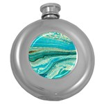 Mint,gold,marble,nature,stone,pattern,modern,chic,elegant,beautiful,trendy Round Hip Flask (5 oz) Front