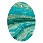 Mint,gold,marble,nature,stone,pattern,modern,chic,elegant,beautiful,trendy Oval Ornament (Two Sides) Front