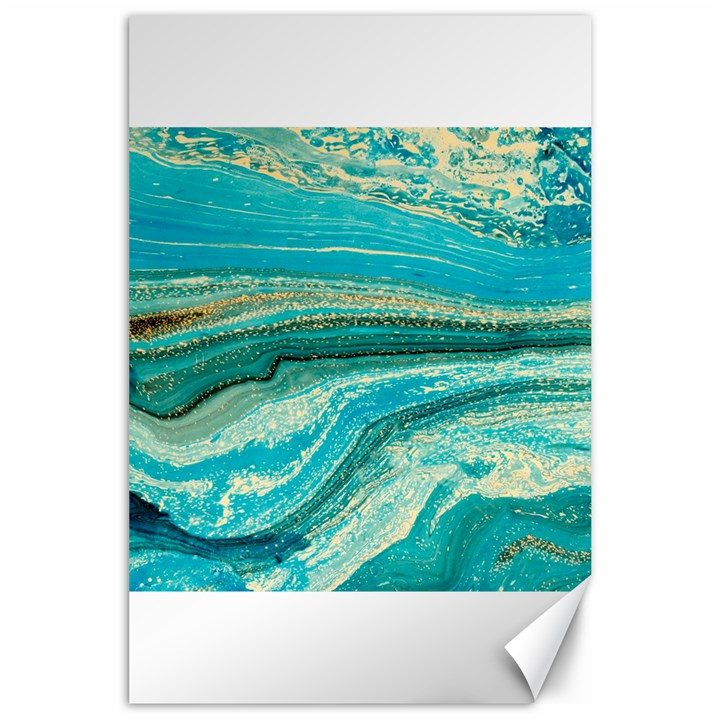 Mint,gold,marble,nature,stone,pattern,modern,chic,elegant,beautiful,trendy Canvas 24  x 36