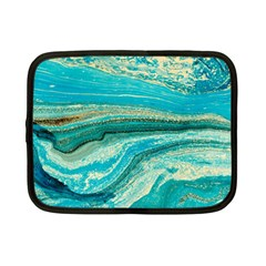 Mint,gold,marble,nature,stone,pattern,modern,chic,elegant,beautiful,trendy Netbook Case (small)