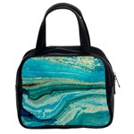 Mint,gold,marble,nature,stone,pattern,modern,chic,elegant,beautiful,trendy Classic Handbags (2 Sides) Front