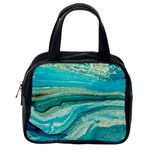 Mint,gold,marble,nature,stone,pattern,modern,chic,elegant,beautiful,trendy Classic Handbags (2 Sides) Back
