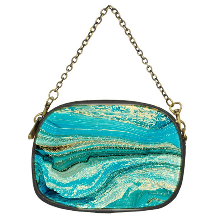 Mint,gold,marble,nature,stone,pattern,modern,chic,elegant,beautiful,trendy Chain Purses (One Side)