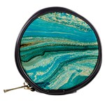 Mint,gold,marble,nature,stone,pattern,modern,chic,elegant,beautiful,trendy Mini Makeup Bags Back