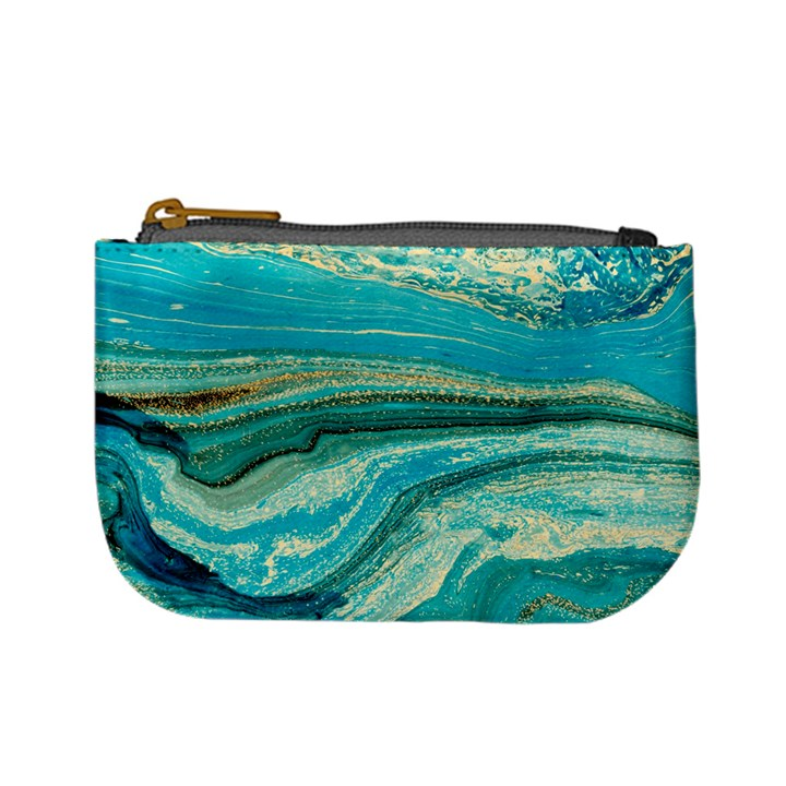 Mint,gold,marble,nature,stone,pattern,modern,chic,elegant,beautiful,trendy Mini Coin Purses