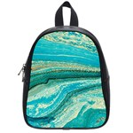 Mint,gold,marble,nature,stone,pattern,modern,chic,elegant,beautiful,trendy School Bag (Small) Front