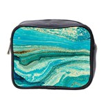 Mint,gold,marble,nature,stone,pattern,modern,chic,elegant,beautiful,trendy Mini Toiletries Bag 2-Side Front