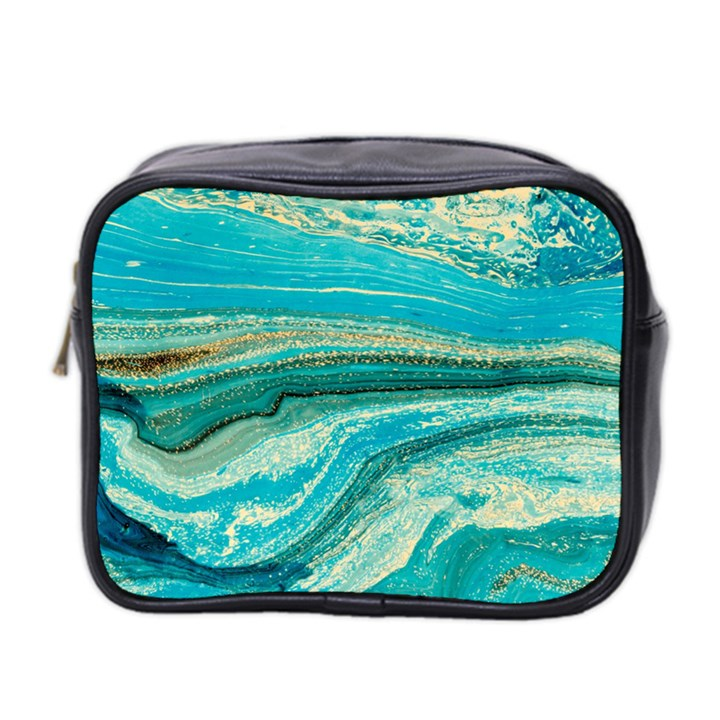Mint,gold,marble,nature,stone,pattern,modern,chic,elegant,beautiful,trendy Mini Toiletries Bag 2-Side