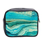 Mint,gold,marble,nature,stone,pattern,modern,chic,elegant,beautiful,trendy Mini Toiletries Bag 2-Side Back