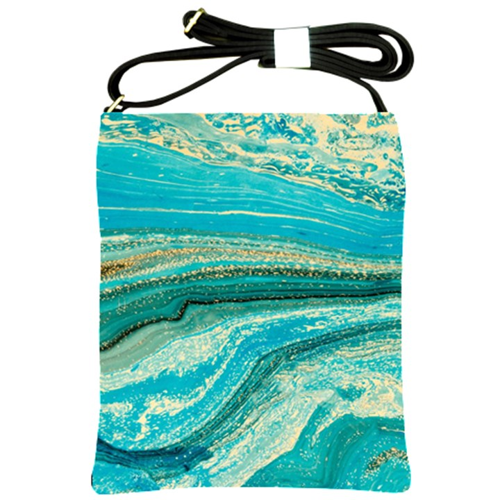 Mint,gold,marble,nature,stone,pattern,modern,chic,elegant,beautiful,trendy Shoulder Sling Bags