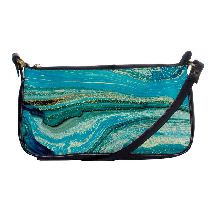 Mint,gold,marble,nature,stone,pattern,modern,chic,elegant,beautiful,trendy Shoulder Clutch Bags