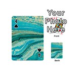 Mint,gold,marble,nature,stone,pattern,modern,chic,elegant,beautiful,trendy Playing Cards 54 (Mini)  Front - Spade4