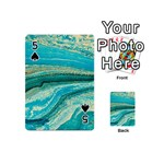 Mint,gold,marble,nature,stone,pattern,modern,chic,elegant,beautiful,trendy Playing Cards 54 (Mini)  Front - Spade5